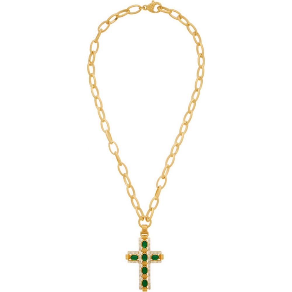 グッチ Gucci メンズ ネックレス ジュエリー・アクセサリー【Gold & Green Cabochan Stone Cross Necklace】Gold
