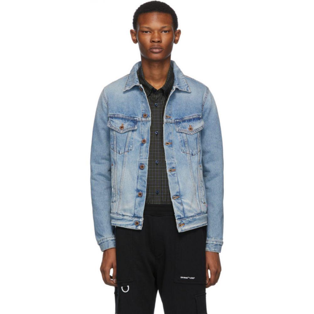 オフホワイト Off-White メンズ ジャケット Gジャン アウター【Blue Denim Slim Bleached Jacket】Bleach/Fuschia