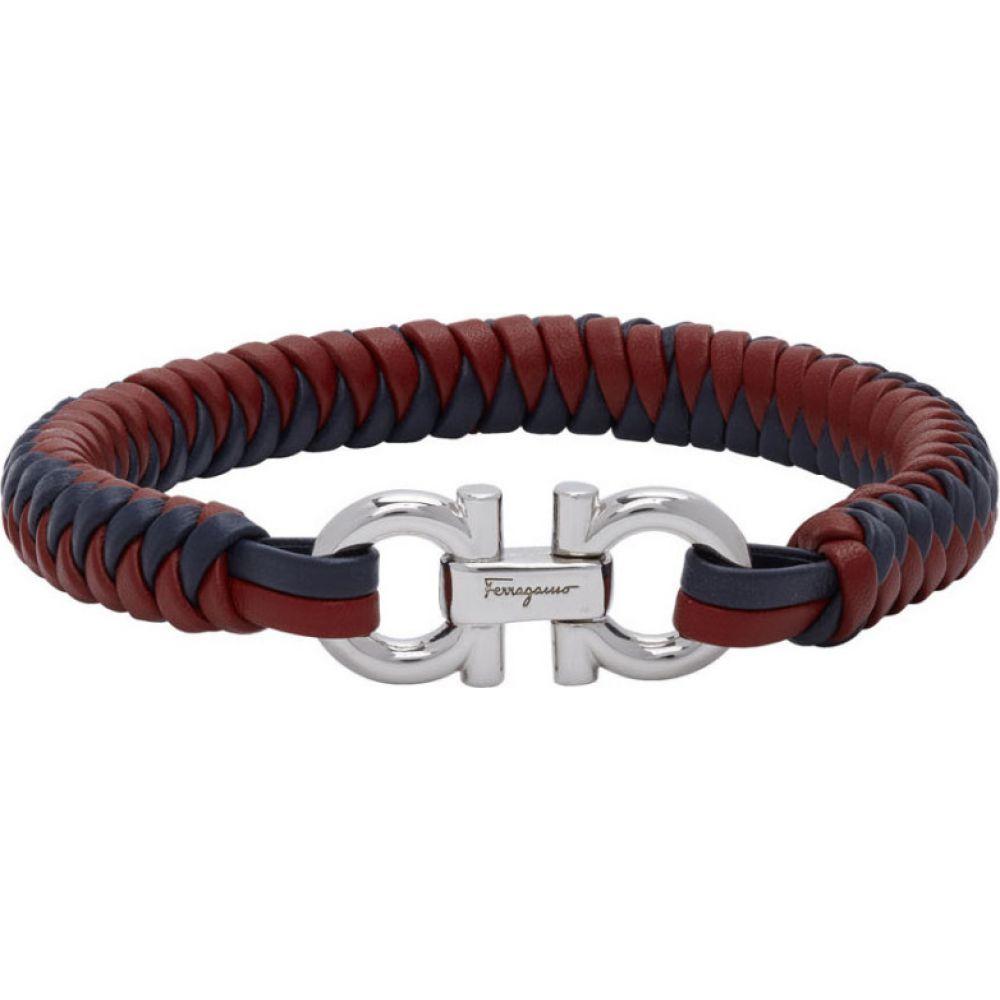 サルヴァトーレ フェラガモ Salvatore Ferragamo メンズ ブレスレット ジュエリー・アクセサリー【Red & Blue Braided Leather Bracelet】Red/Navy