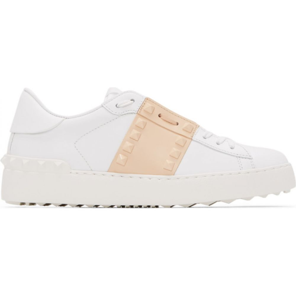 ヴァレンティノ Valentino レディース スニーカー シューズ・靴【White & Beige Garavani Rockstud Untitled Open Sneakers】White/Creme