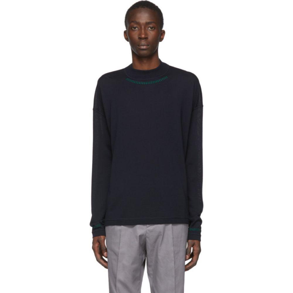 ジル サンダー Jil Sander メンズ ニット・セーター トップス【Blue Wool Mock Neck Sweater】Dark blue