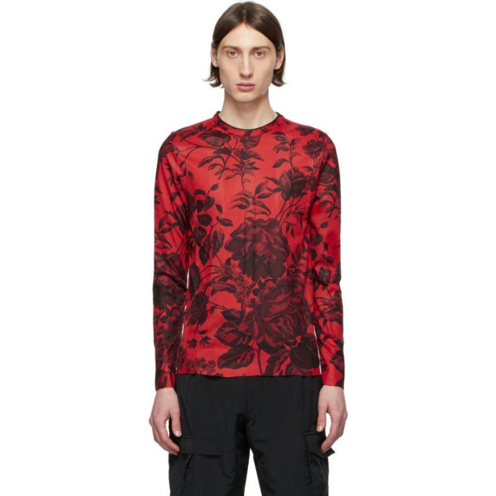 ジバンシー Givenchy メンズ 長袖Tシャツ トップス【Red Floral Ribbed Long Sleeve T-Shirt】Red