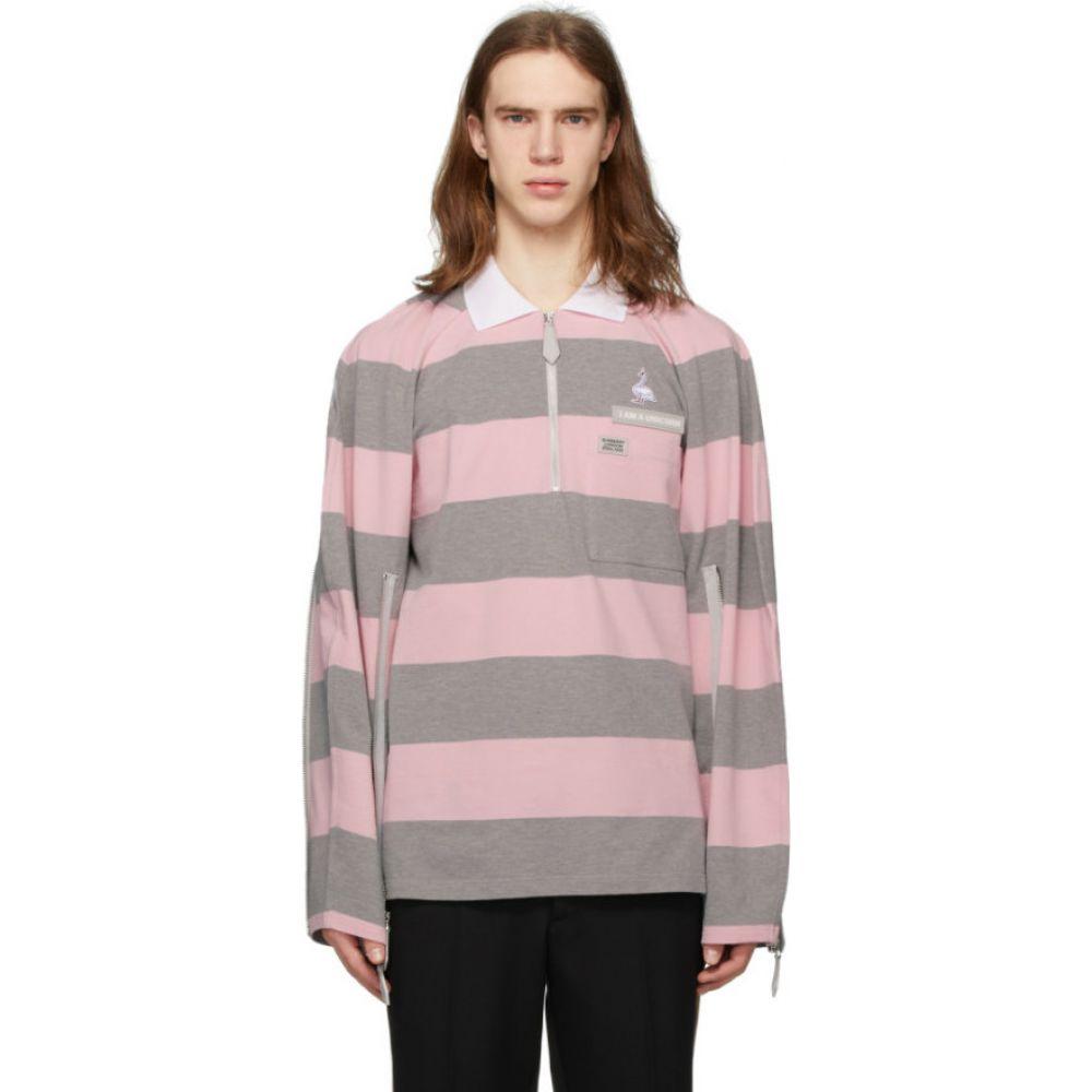 バーバリー Burberry メンズ ポロシャツ トップス【Pink & Grey Striped Zip Detail Polo】Pale pink
