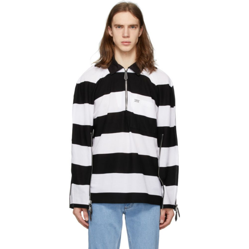 バーバリー Burberry メンズ ポロシャツ トップス【Black & White Striped Zip Detail Polo】Black/White