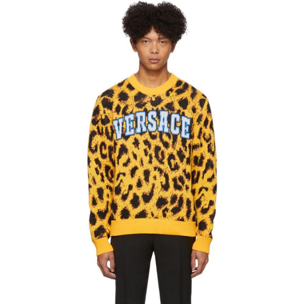 ヴェルサーチ Versace メンズ ニット・セーター トップス【Yellow Jacquard Pop Animalier Sweater】Yellow