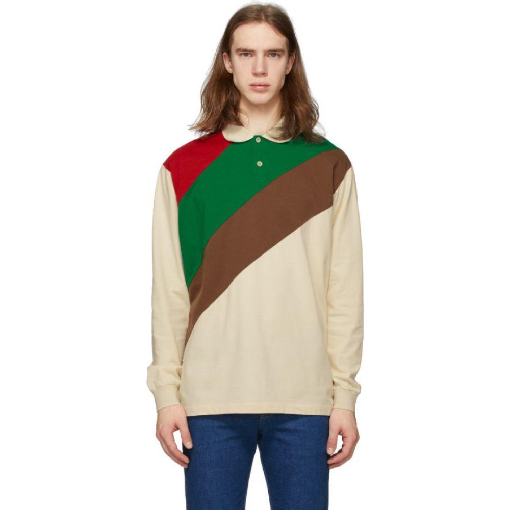 グッチ Gucci メンズ ポロシャツ トップス【Off-White & Multicolor Oversize Striped Polo】Bone/Chocolate