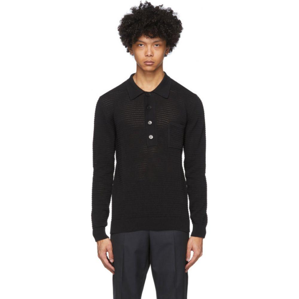 コモン スウェーデン CMMN SWDN メンズ ポロシャツ トップス【Black Crochet Curtis Polo】Black