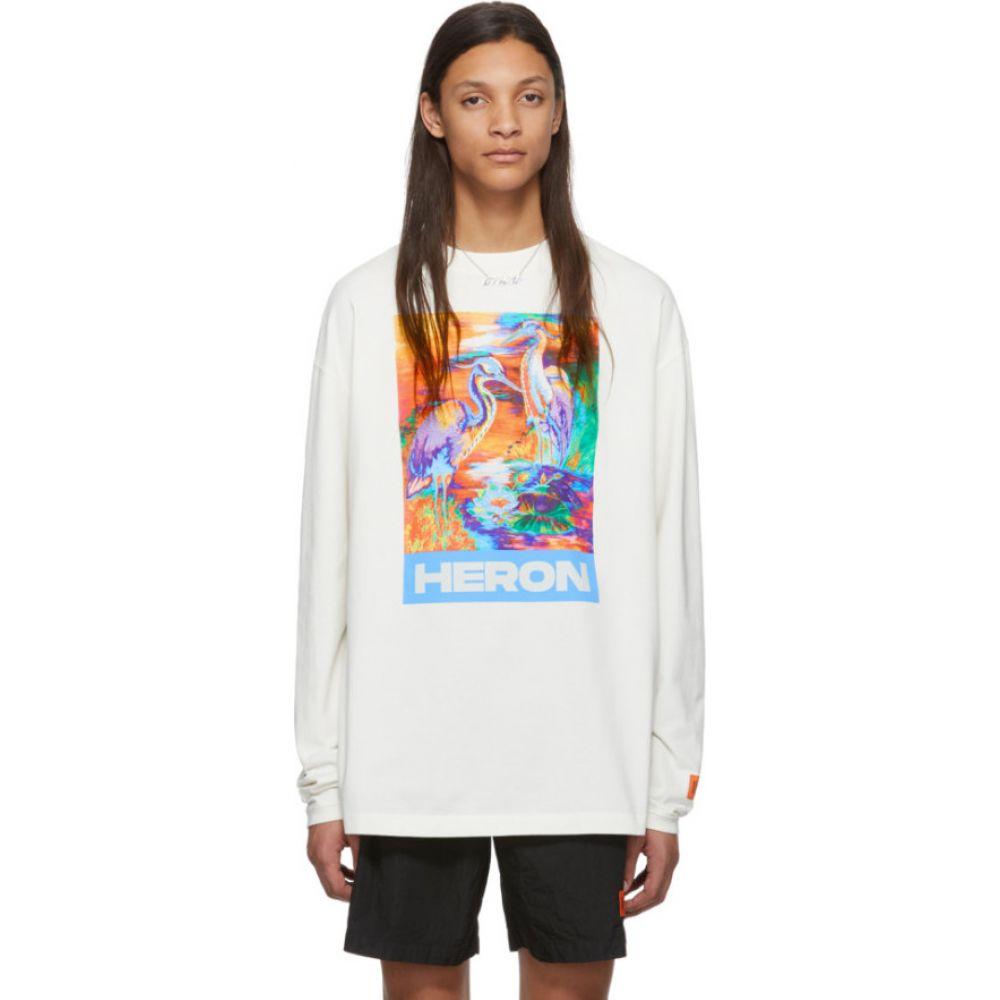 ヘロン プレストン Heron Preston メンズ 長袖Tシャツ トップス【Off-White Heron Colors Long Sleeve T-Shirt】White/Multicolor
