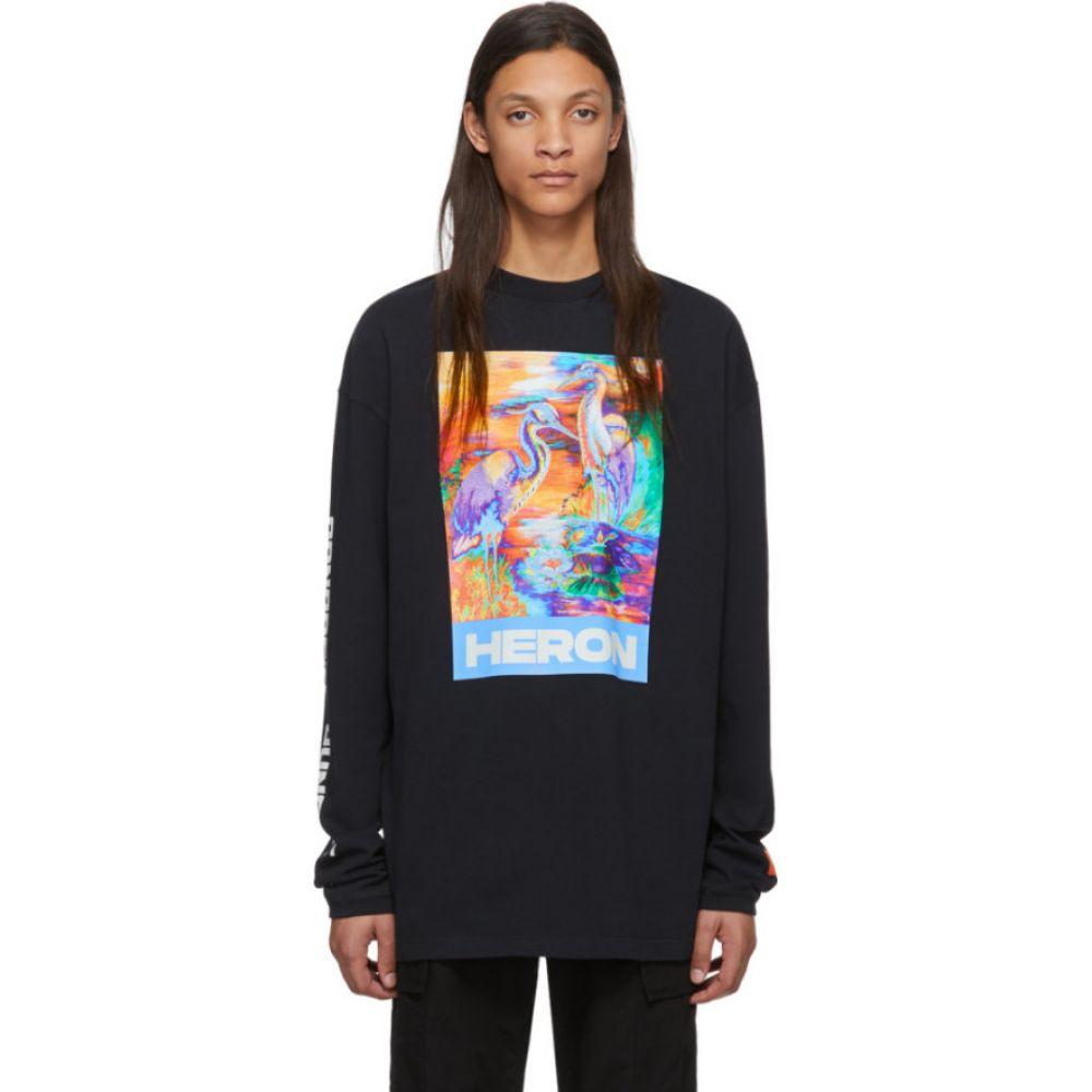 ヘロン プレストン Heron Preston メンズ 長袖Tシャツ トップス【Black Heron Colors Long Sleeve T-Shirt】Black/Multicolor