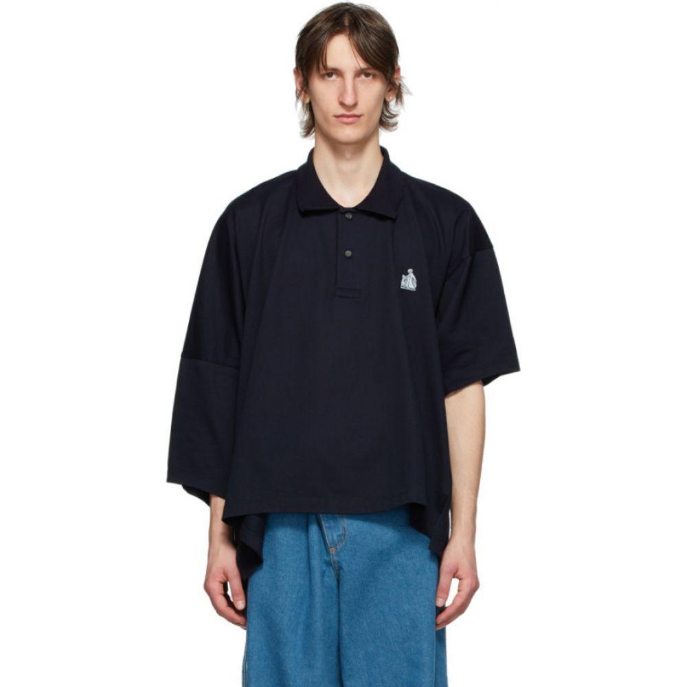 ランバン Lanvin メンズ ポロシャツ トップス【Navy Asymmetric Polo】Navy