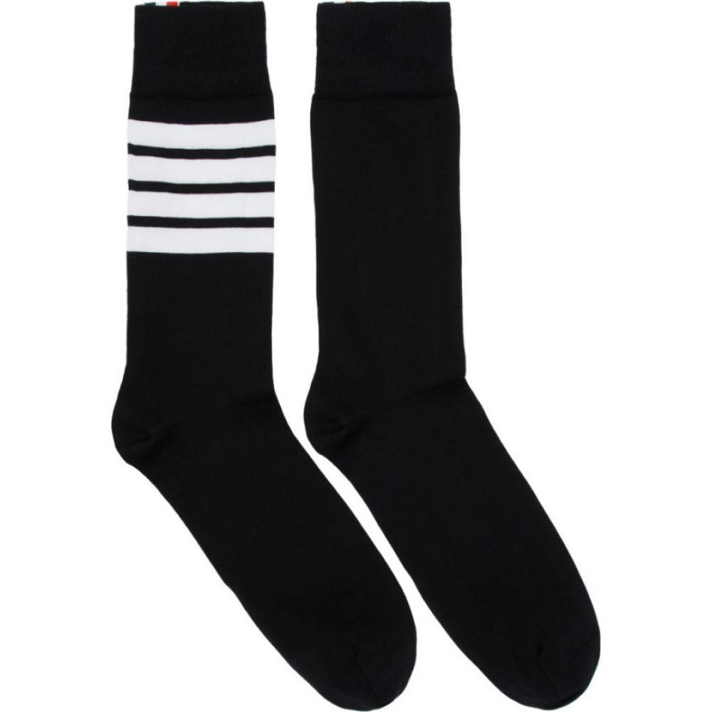 トム ブラウン Thom Browne メンズ ソックス インナー・下着【Black 4-Bar Mid-Calf Socks】Black
