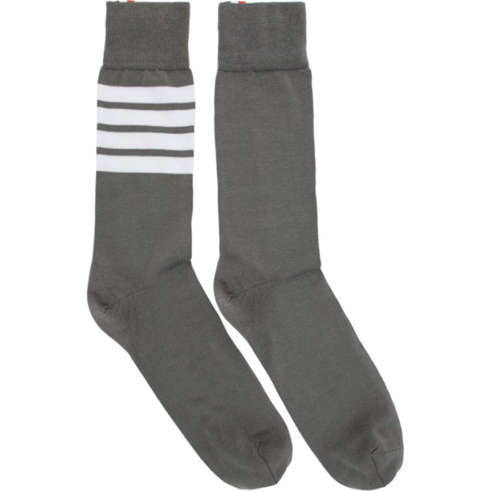 トム ブラウン Thom Browne メンズ ソックス インナー・下着【Grey Mid-Calf 4-Bar Socks】Medium grey
