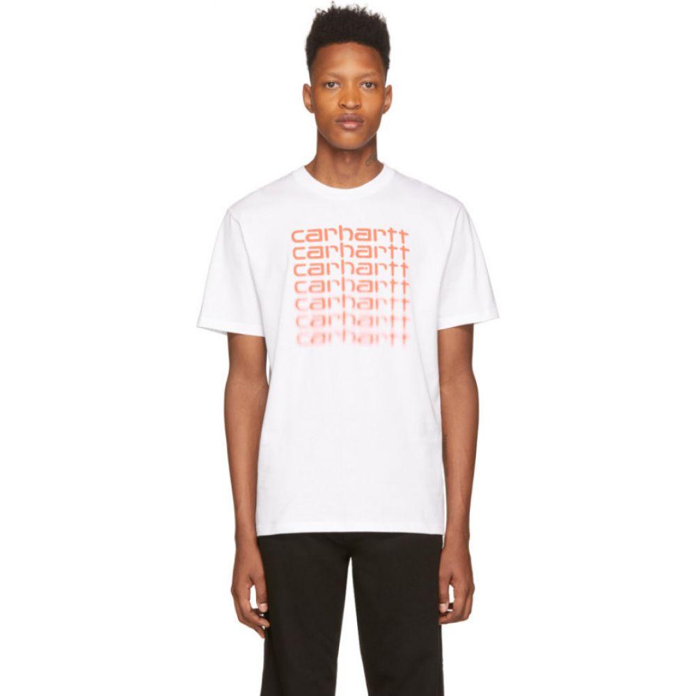 カーハート Carhartt Work In Progress メンズ Tシャツ トップス【White & Orange Fading Script T-Shirt】White/Coral