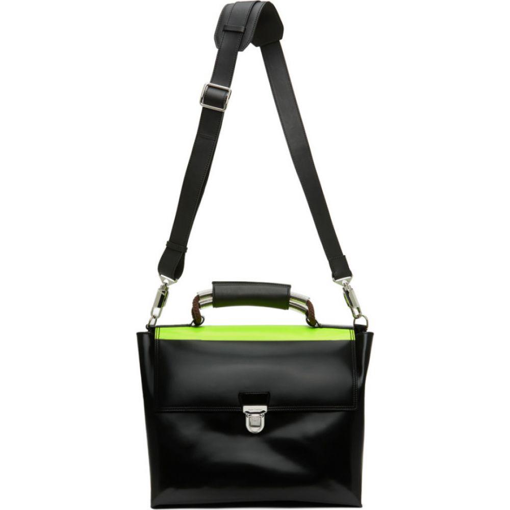 アクネ ストゥディオズ Acne Studios メンズ ビジネスバッグ・ブリーフケース サッチェルバッグ バッグ【Black High-Shine Leather Satchel Briefcase】Black