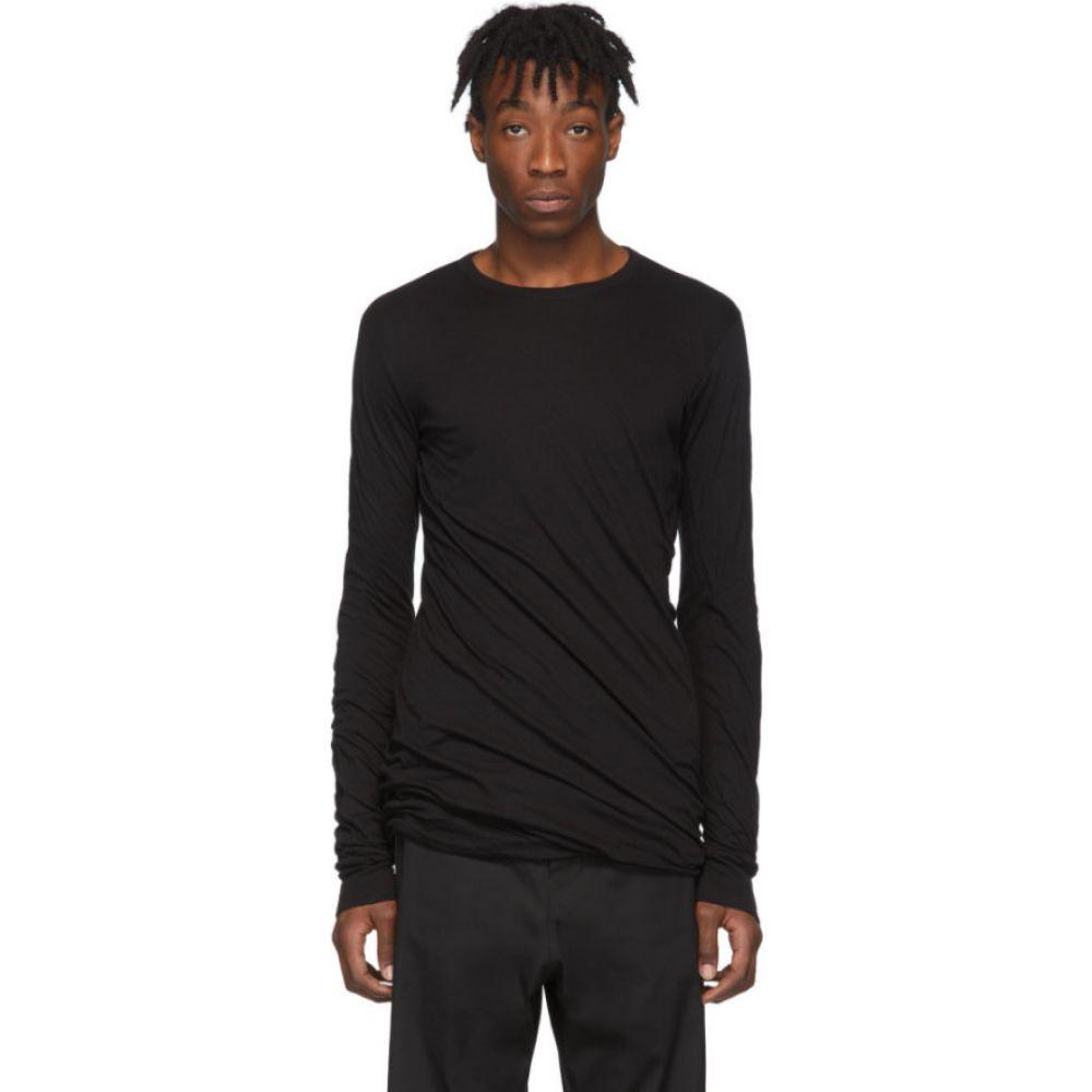 リック オウエンス Rick Owens メンズ 長袖Tシャツ トップス【Black Double Long Sleeve T-Shirt】Black