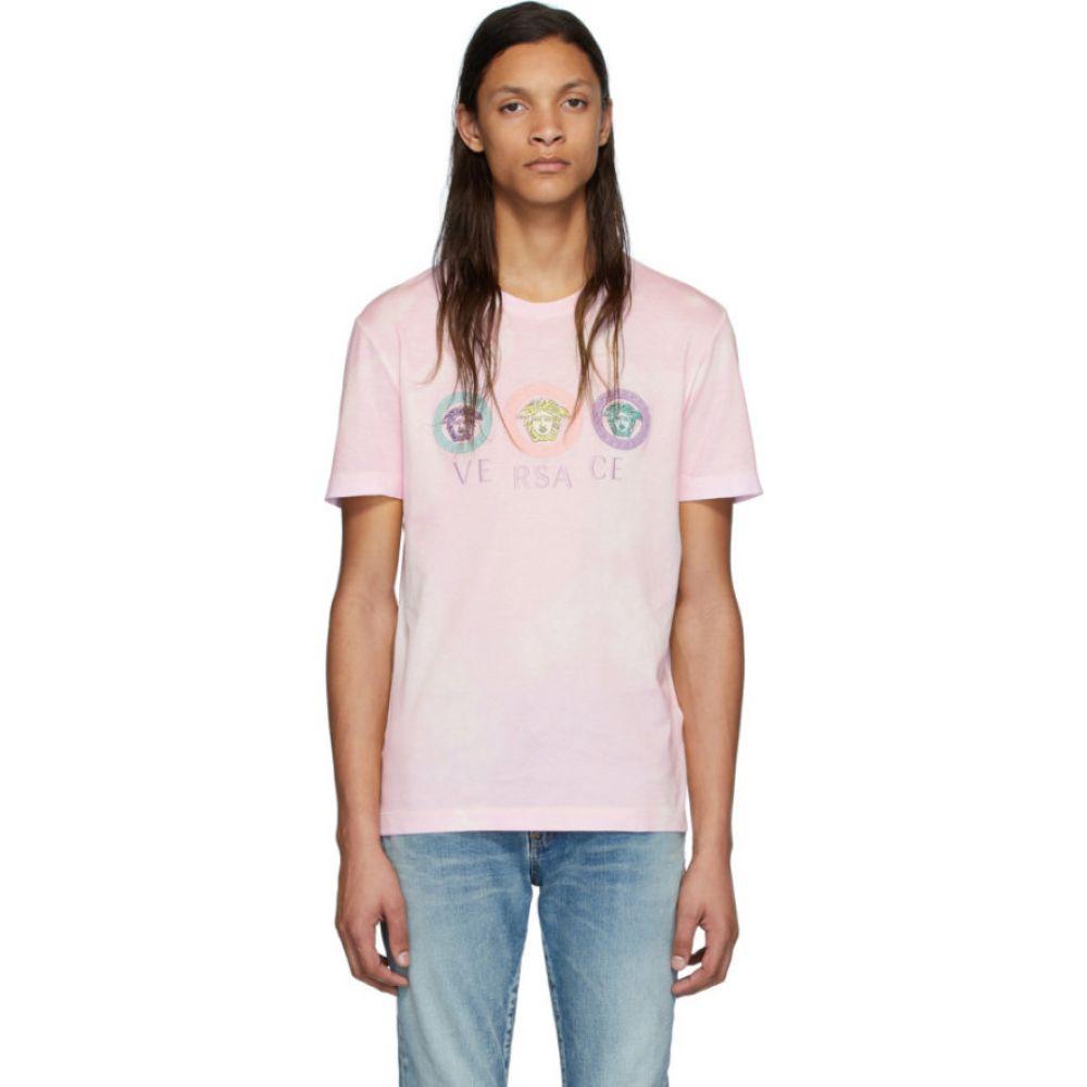ヴェルサーチ Versace メンズ Tシャツ メデューサ トップス【Pink Tie-Dye Medusa T-Shirt】Pink