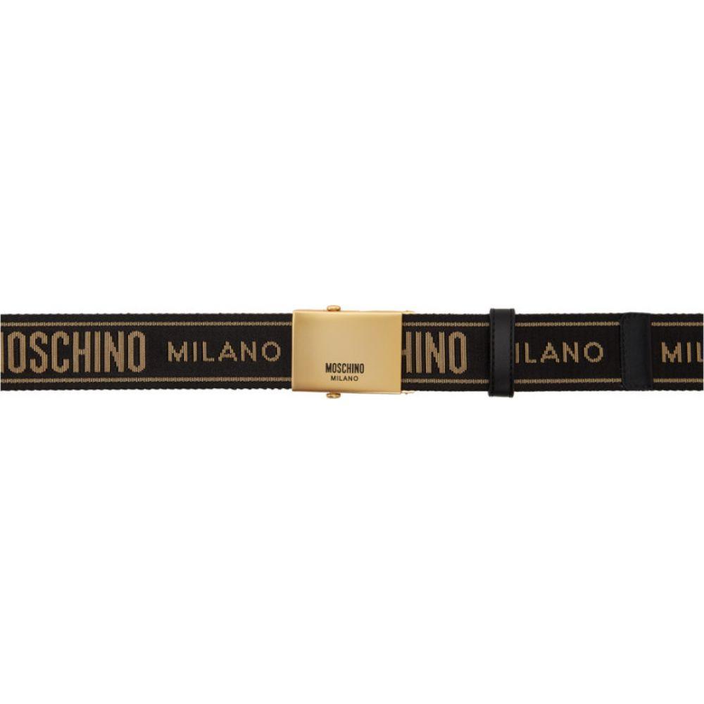 モスキーノ Moschino メンズ ベルト 【Black & Gold Printed Belt】Black