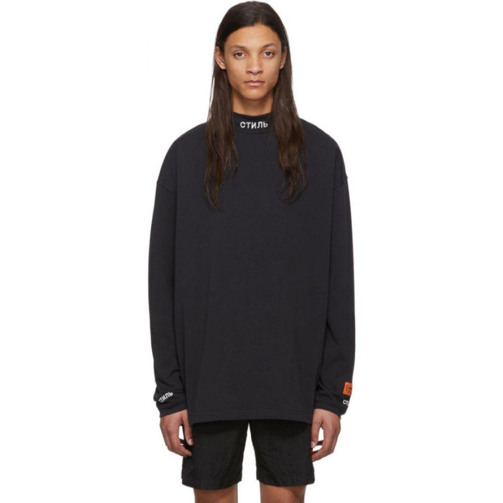 ヘロン プレストン Heron Preston メンズ 長袖Tシャツ トップス【Black Turtleneck 'Style' Long Sleeve T-Shirt】Black/White