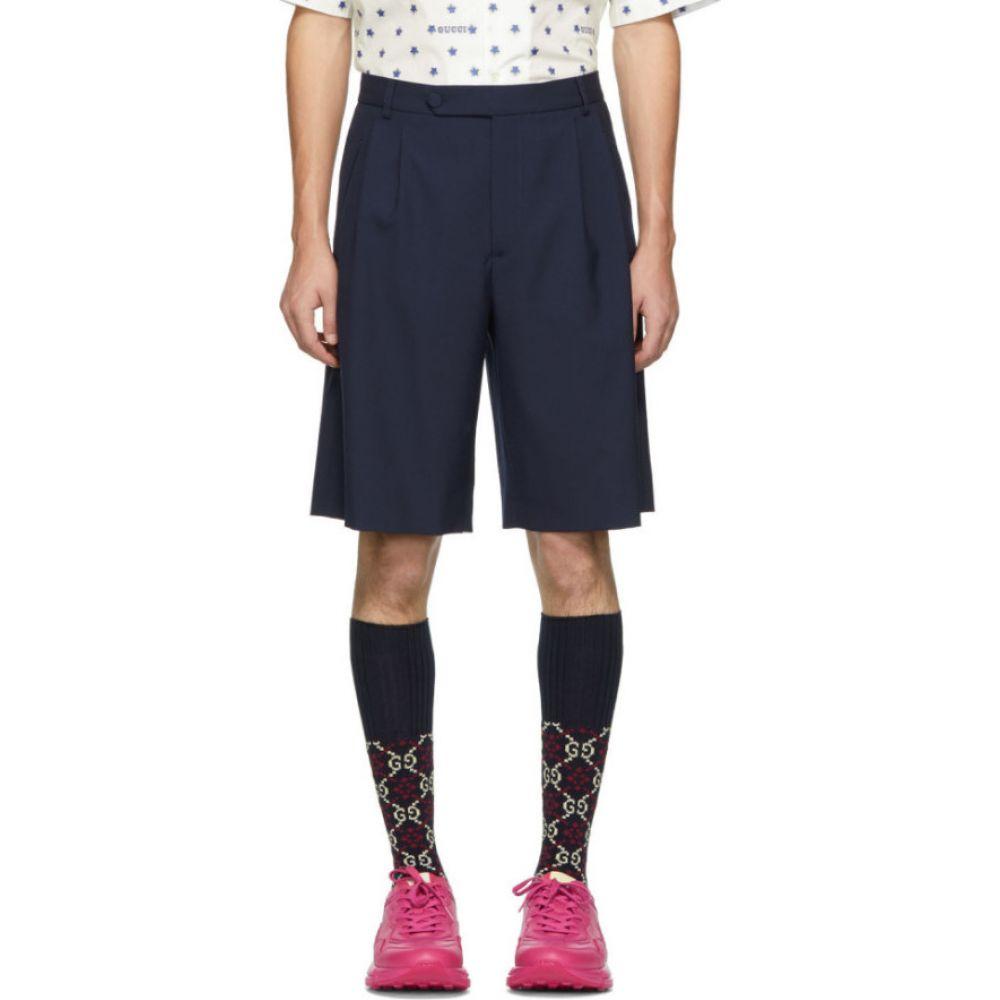グッチ Gucci メンズ ショートパンツ ボトムス・パンツ【Navy Wool Shorts】