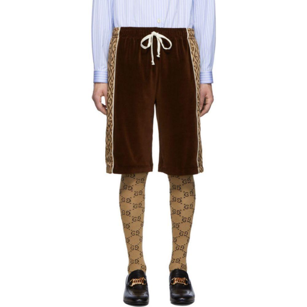 グッチ Gucci メンズ ショートパンツ ボトムス・パンツ【Brown Jacquard Logo Rhombus Shorts】Brown/Beige