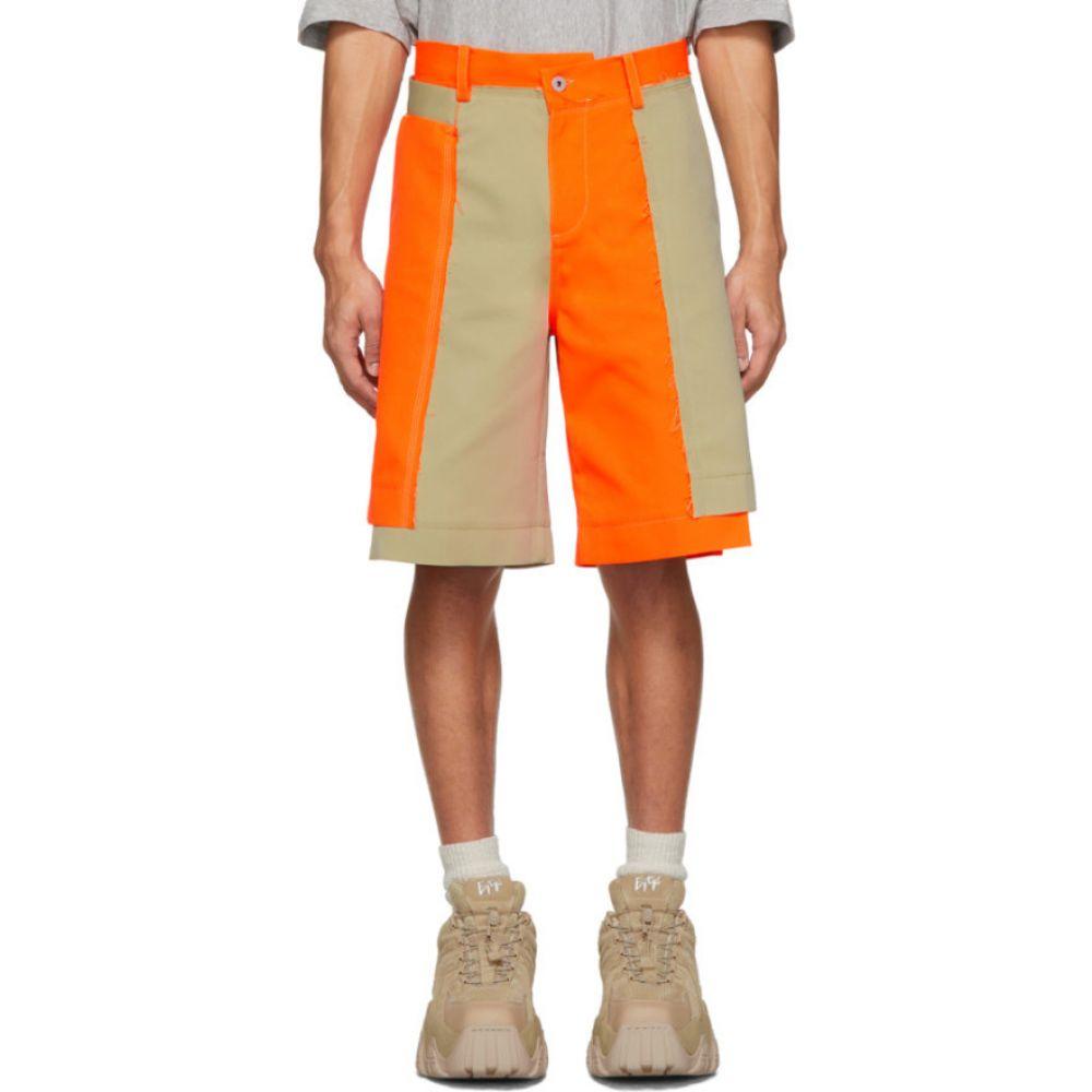 フェン チェン ワン Feng Chen Wang メンズ ショートパンツ ボトムス・パンツ【Orange & Beige Panelled Shorts】Orange