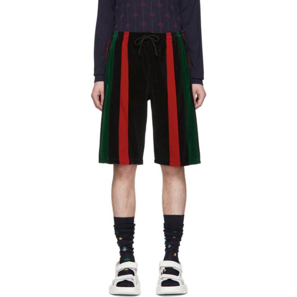 グッチ Gucci メンズ ショートパンツ ボトムス・パンツ【Black Chenille Signature Stripe Shorts】Black