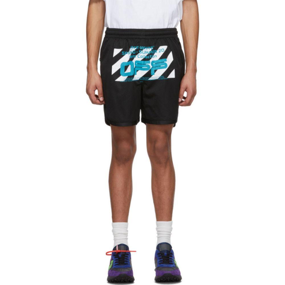 オフホワイト Off-White メンズ ショートパンツ ボトムス・パンツ【Black Mesh Wavy Line Logo Shorts】Black/White