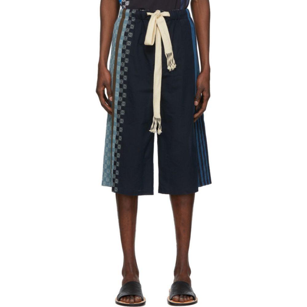 ロエベ Loewe メンズ ショートパンツ ボトムス・パンツ【Navy Stripe Anagram Shorts】Navy blue/Multicolor