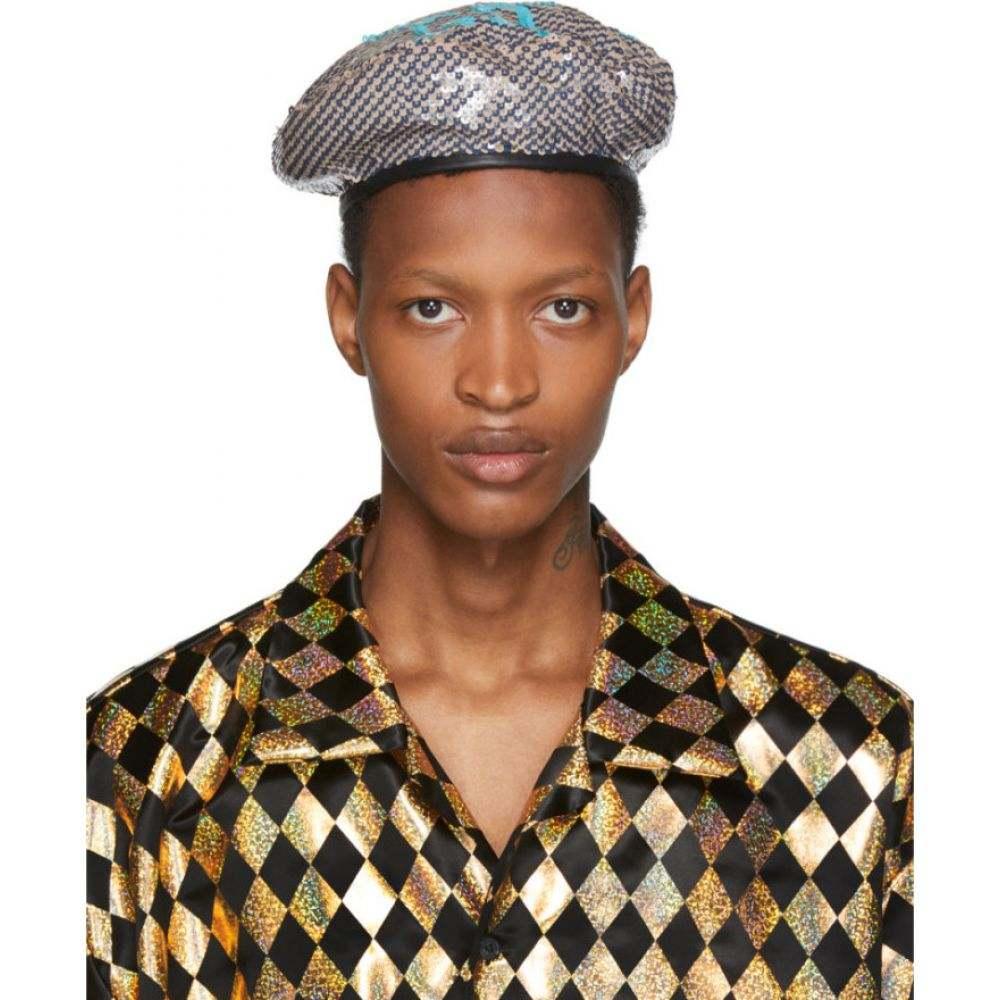 グッチ Gucci メンズ 帽子 ベレー帽【Multicolor GG Sequin Beret】Black