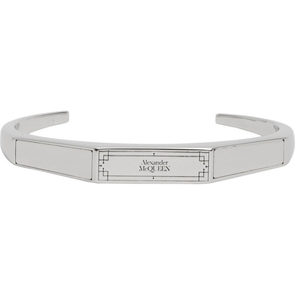 アレキサンダー マックイーン Alexander McQueen メンズ ブレスレット ジュエリー・アクセサリー【Silver Identity Cuff Bracelet】Palladium