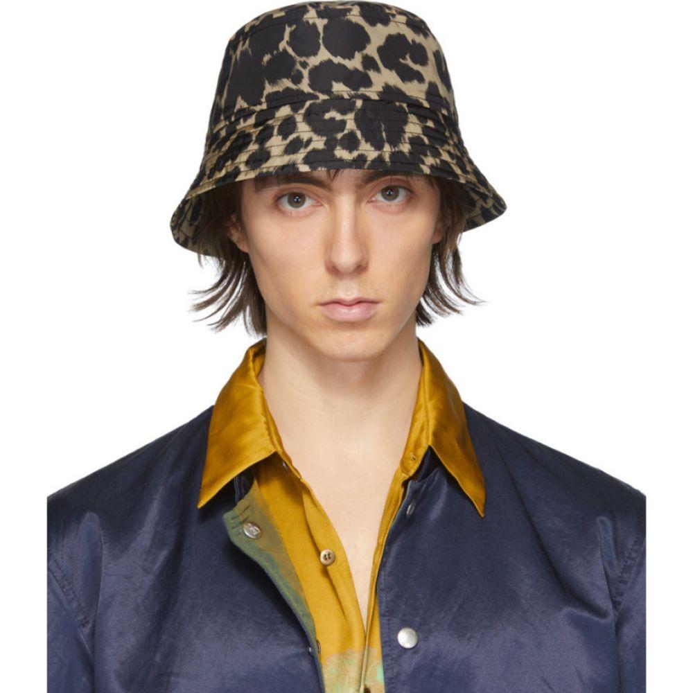 ドリス ヴァン ノッテン Dries Van Noten メンズ ハット バケットハット 帽子【Black & Beige Leopard Bucket Hat】Leopard
