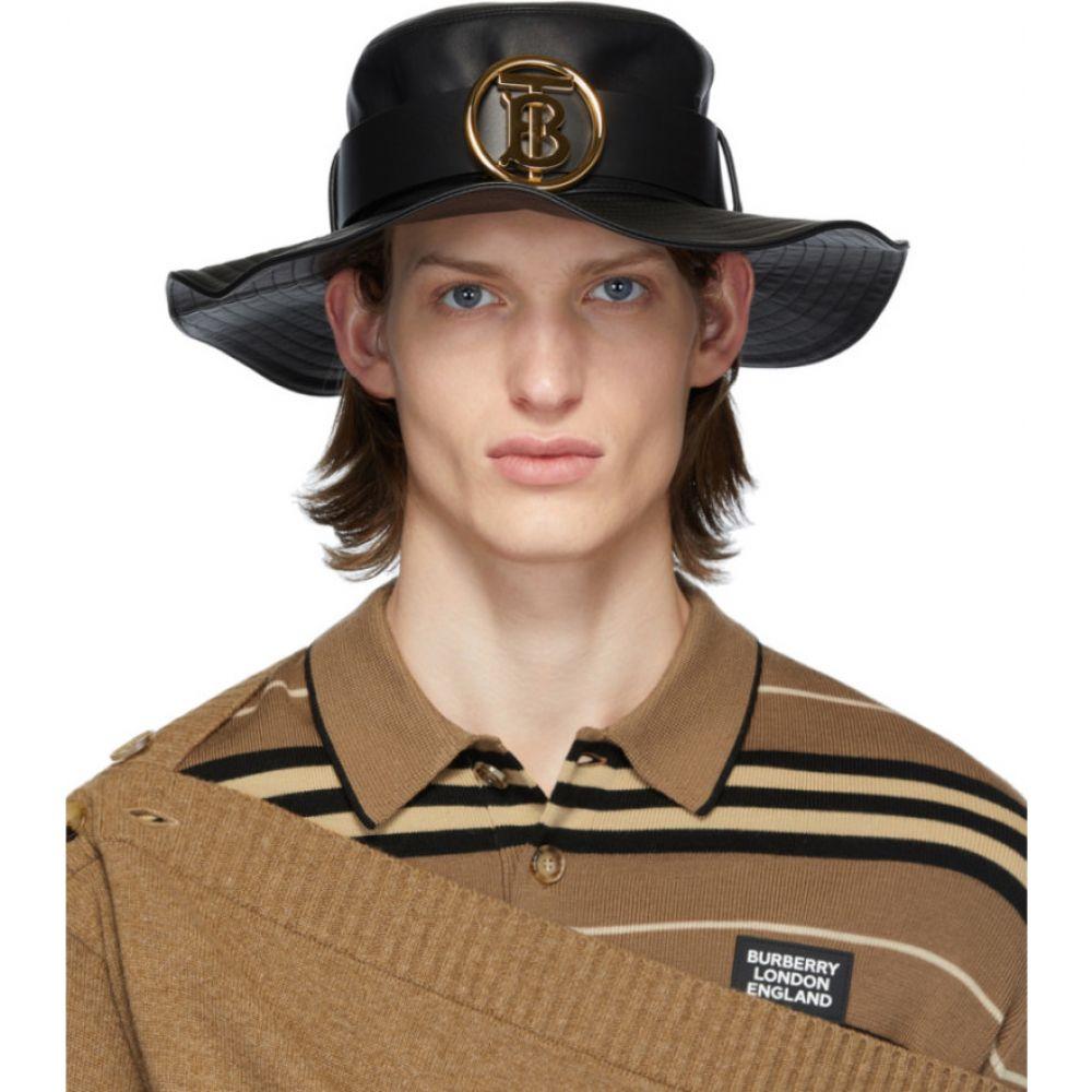 バーバリー Burberry メンズ ハット ラム革 帽子【Black Lambskin Monogram Desert Hat】Black