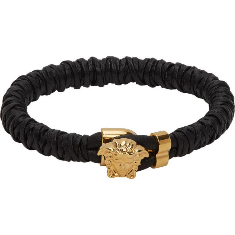 ヴェルサーチ Versace メンズ ブレスレット メデューサ ジュエリー・アクセサリー【Black Leather Medusa Bracelet】Black/Gold