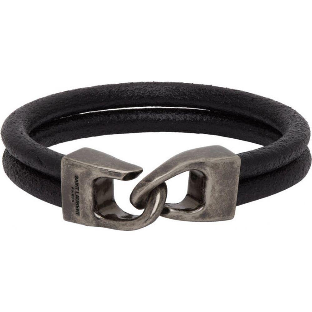 イヴ サンローラン Saint Laurent メンズ ブレスレット ジュエリー・アクセサリー【Black Leather Bracelet】Nero