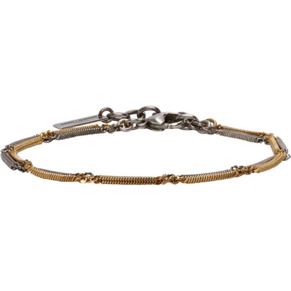 イヴ サンローラン Saint Laurent メンズ ブレスレット ジュエリー・アクセサリー【Silver & Gold Two-Tone Double Herringbone Chain Bracelet】Silver/Gold