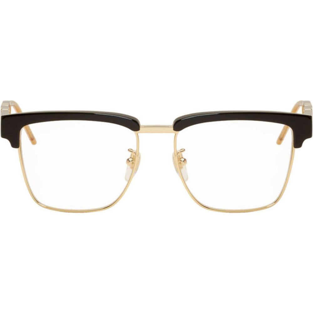 グッチ Gucci メンズ メガネ・サングラス 【Black Square Metal & Acetate Glasses】Black