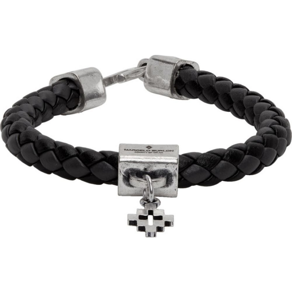 マルセロバーロン Marcelo Burlon County of Milan メンズ ブレスレット ジュエリー・アクセサリー【Black & Grey Braided Leather Cross Bracelet】Dark Grey