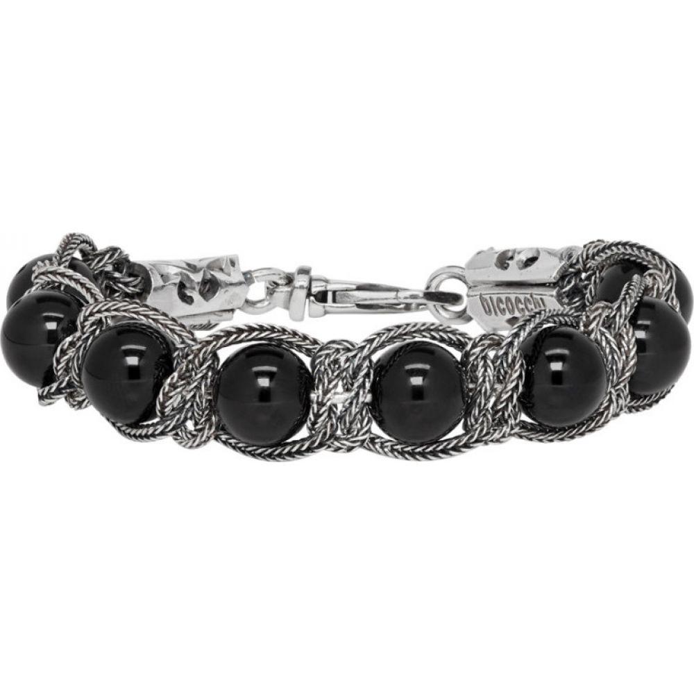 エマニュエレ ビコッキ Emanuele Bicocchi メンズ ブレスレット ジュエリー・アクセサリー【Silver & Black Beaded Bracelet】Silver/Black