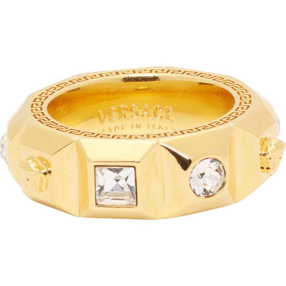 ヴェルサーチ Versace メンズ 指輪・リング メデューサ ジュエリー・アクセサリー【Gold Crystal Palazzo Medusa Band Ring】Gold
