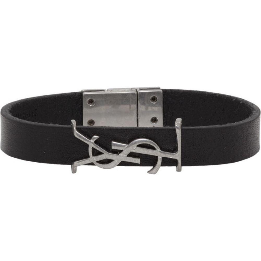 イヴ サンローラン Saint Laurent メンズ ブレスレット ジュエリー・アクセサリー【Black & Silver Leather Opyum Bracelet】Black