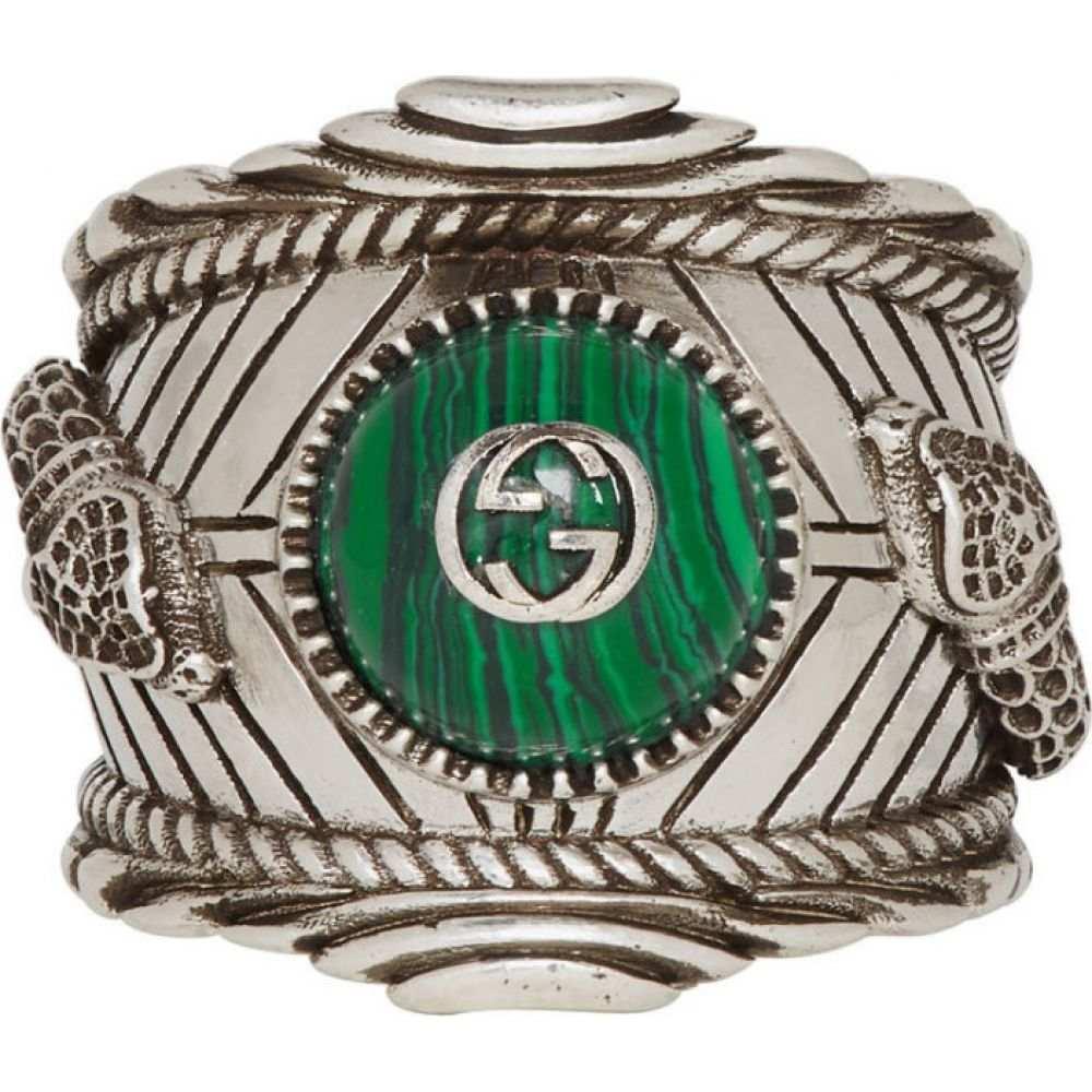 グッチ Gucci メンズ 指輪・リング ジュエリー・アクセサリー【Silver & Green ' Garden' Ring】Silver