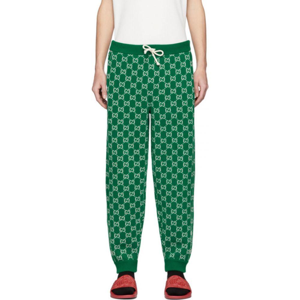 グッチ Gucci メンズ スウェット・ジャージ ボトムス・パンツ【Green & Off-White Wool GG Lounge Pants】Yard/Milk