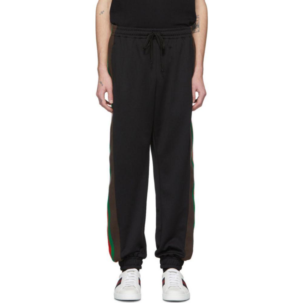 グッチ Gucci メンズ スウェット・ジャージ ボトムス・パンツ【Black Jersey Lounge Pants】Black/Green/Red