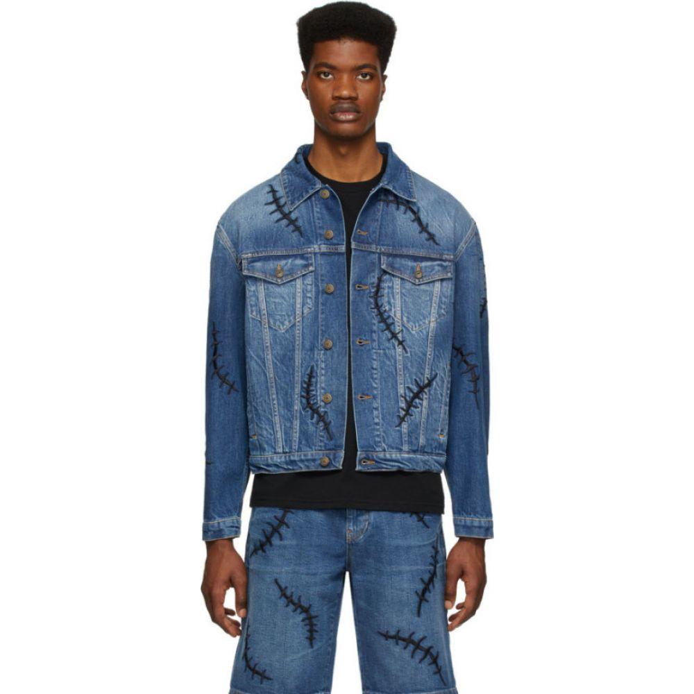 モスキーノ Moschino メンズ ジャケット Gジャン アウター【Blue Denim Scars Jacket】Blue