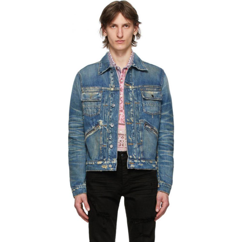 アミリ Amiri メンズ ジャケット Gジャン アウター【Blue Denim Wrangler Jacket】Deep indigo
