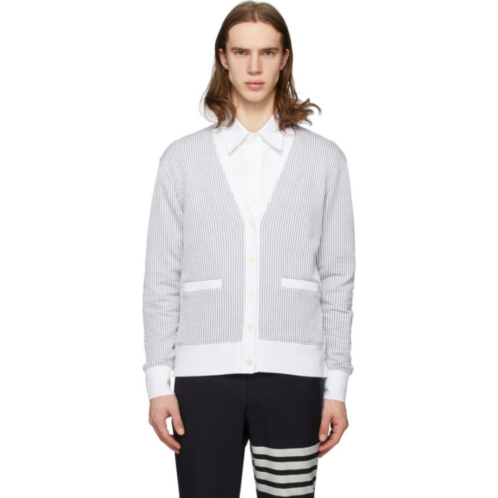 トム ブラウン Thom Browne メンズ カーディガン トップス【Grey & White Seersucker Stripe Cardigan】Light grey