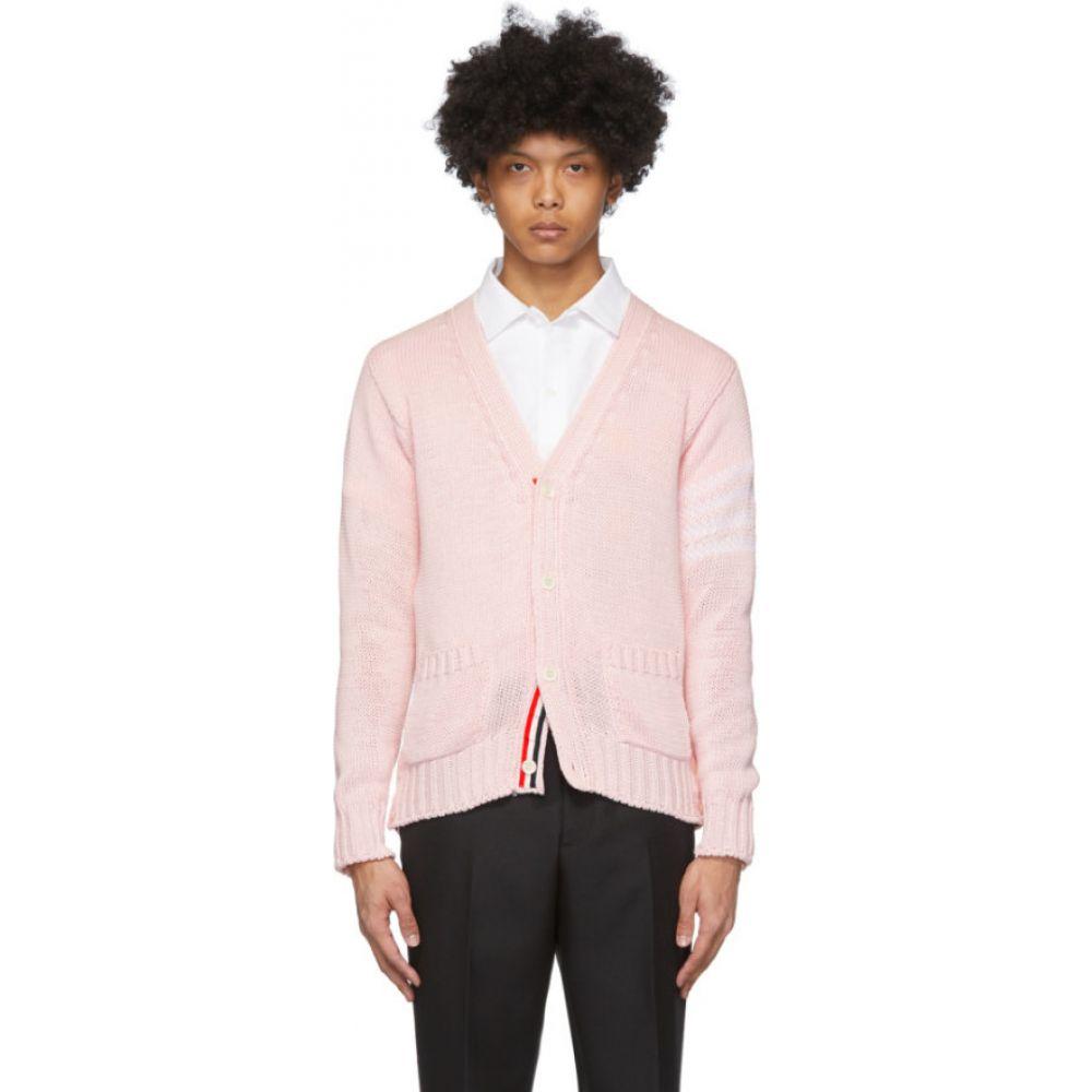 トム ブラウン Thom Browne メンズ カーディガン Vネック トップス【Pink Intarsia Dolphin 4-Bar V-Neck Cardigan】Light pink