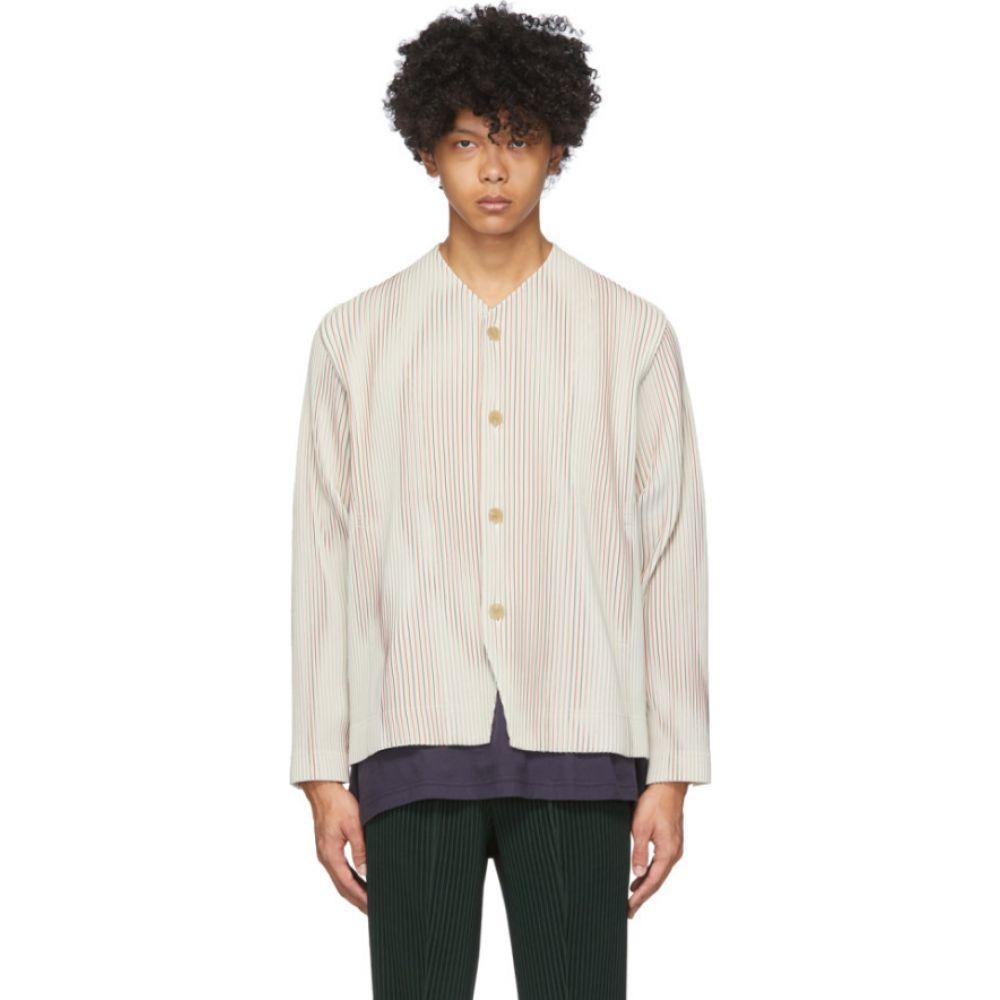 イッセイ ミヤケ Homme Plisse Issey Miyake メンズ スーツ・ジャケット アウター【Off-White & Red Striped Tailored Line Jacket】Ivory