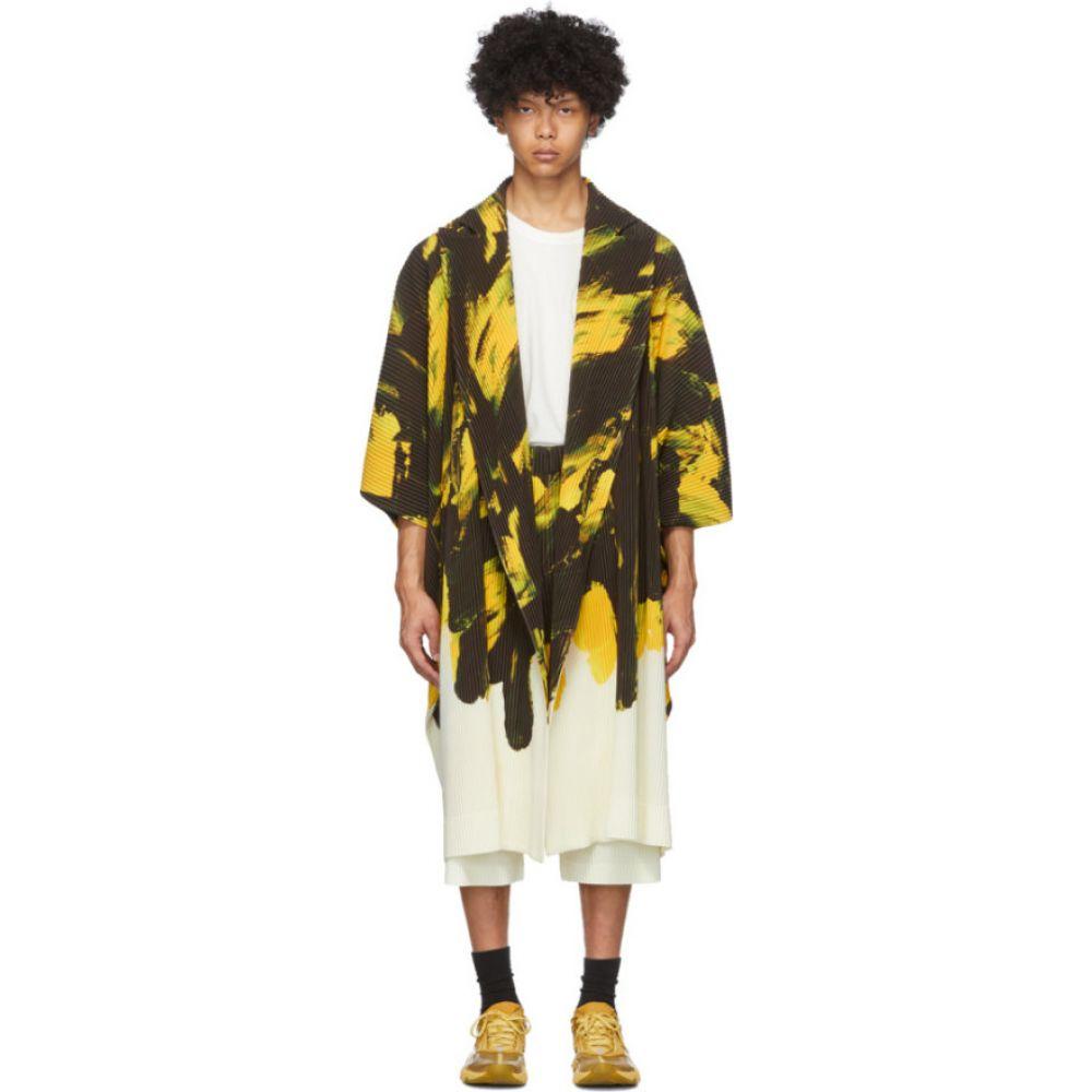イッセイ ミヤケ Homme Plisse Issey Miyake メンズ カーディガン トップス【Yellow & Black Action Paint Cardigan】Yellow