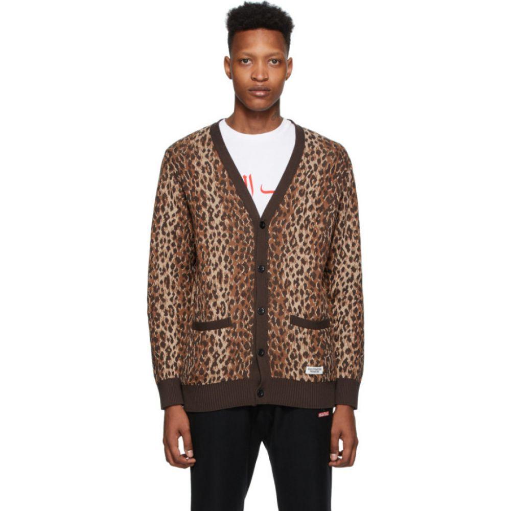 ワコマリア Wacko Maria メンズ カーディガン トップス【Brown & Beige Leopard Jacquard Cardigan】Leopard